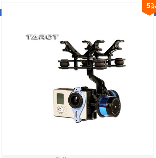 F09990 Tarot T-2D 2-axle Brushless Gimbal Camera PTZ Mount FPV Rack TL68A08 for GoPro Hero3 DIY FPV RC Multicopter Drone 2 aixs 2d brushless camera gimbal for sjcam gopro xiaomi yi action camera fpv drone multirotor quadrocopter s500 f450 f550