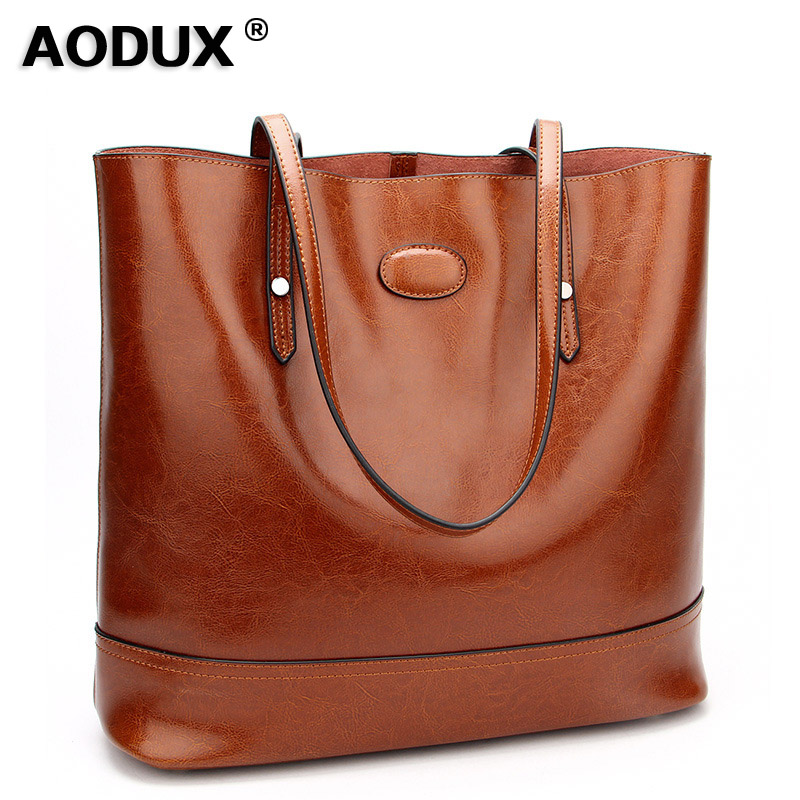 AODUX Vintage Fashion Second Layer Oil Wax Cow Leather Women's Shoulder Bags Woman Handbags Genuine Leather Female Shopping Bags zency fashion shopping style handbags women bucket genuine second layer cow leather shoulder messenger cowhide tote bags