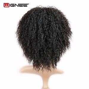 Image 1 - Wignee Korte Haar Afro kinky Krullend Synthetische Pruik Voor Zwarte Vrouwen Vrouwelijke Pruiken Hoge Dichtheid Temperatuur Hittebestendige Machine Pruik