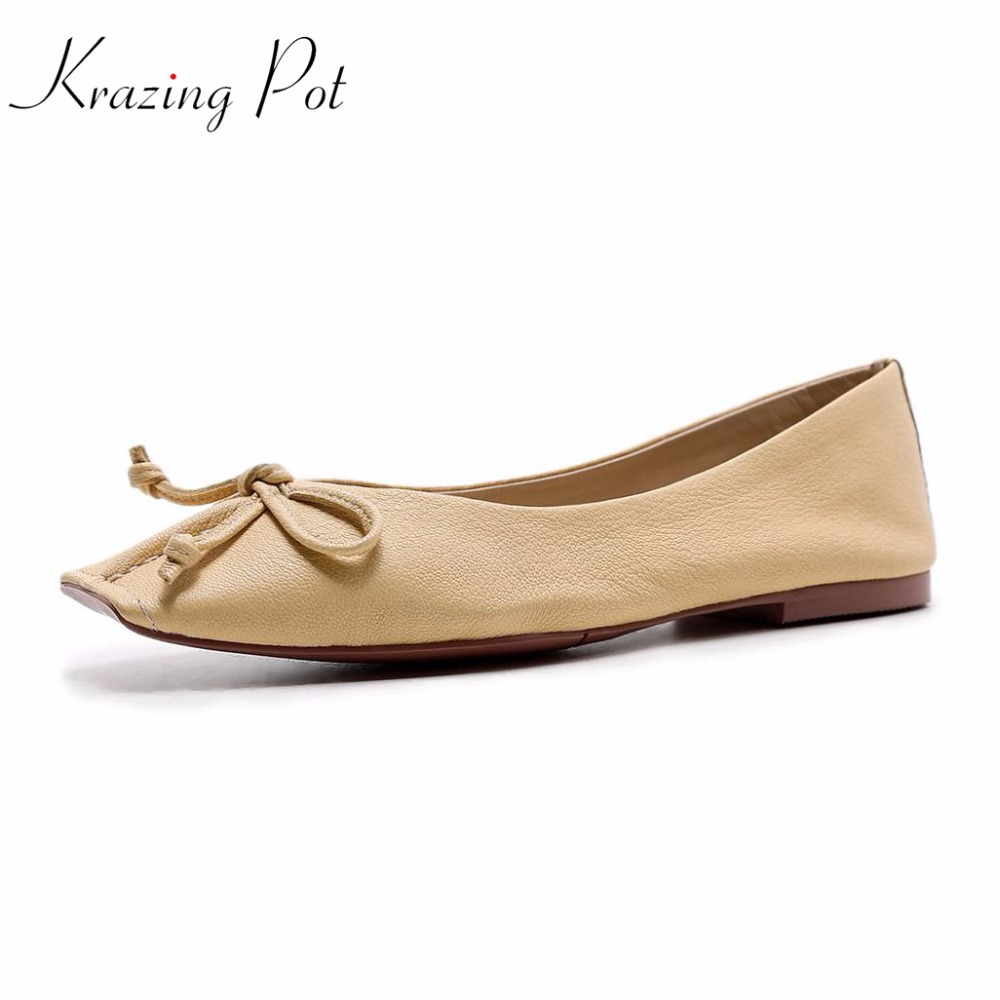 2019 fashion flats square toe bowtie genuine leather superstar sweet shallow dance ballet women shoes soft