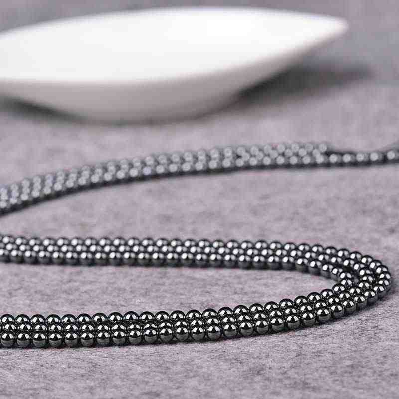 Necklace Semi-finished Products 100/50/20/10pcs/Lot 4/6/8/10mm  Black Stone Cheap Simple Wholesale Accessories Hematite