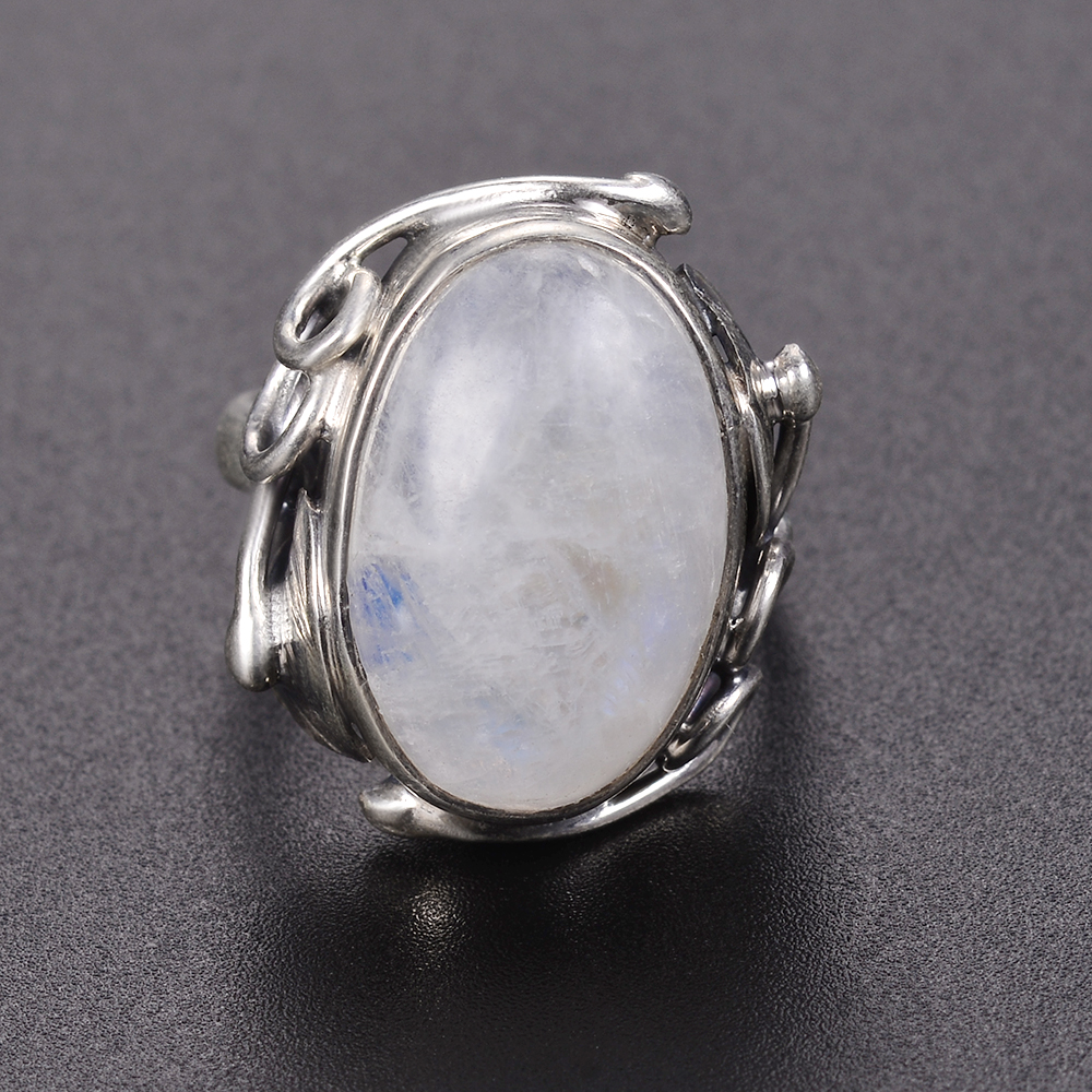 Natural Moonstone rings For Men Women's 925 Sterling Silver Jewelry Ring With Big Stones 11x17MM Oval Gemstones Gifts Wholesale