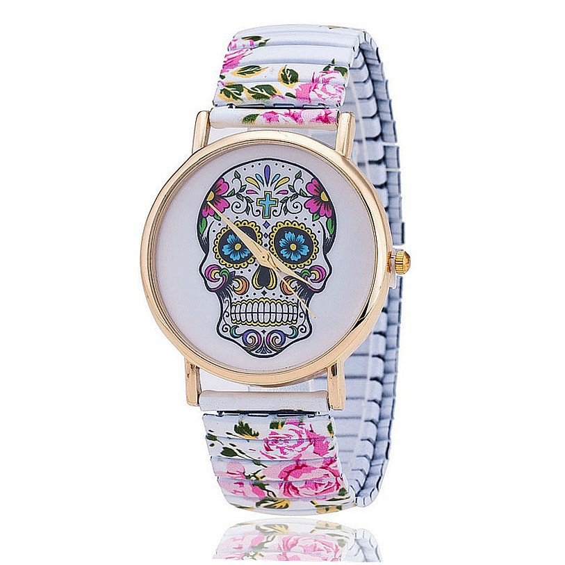 Fashion Flower Printed Spring Watch Stainless Steel Skull Skeleton Watch for Women Quartz Watch Relogio Feminino BW821
