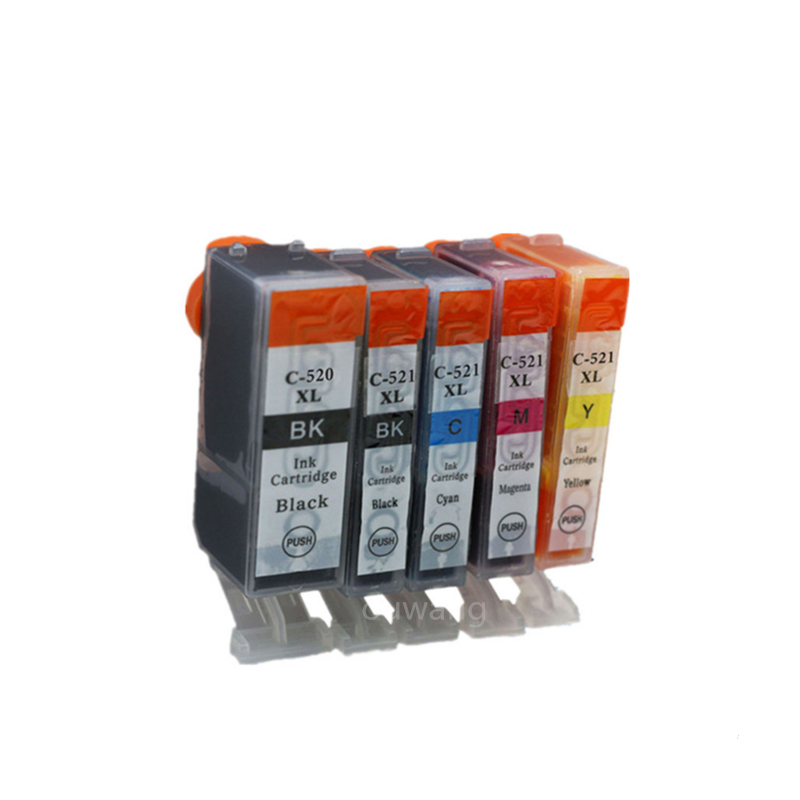 5pcs PGI 520BK CLI 521 BK C M Y 5 color ink cartridge For canon PIXMA MP540/MP550/MP560/MP620/MP630/MP640 printer