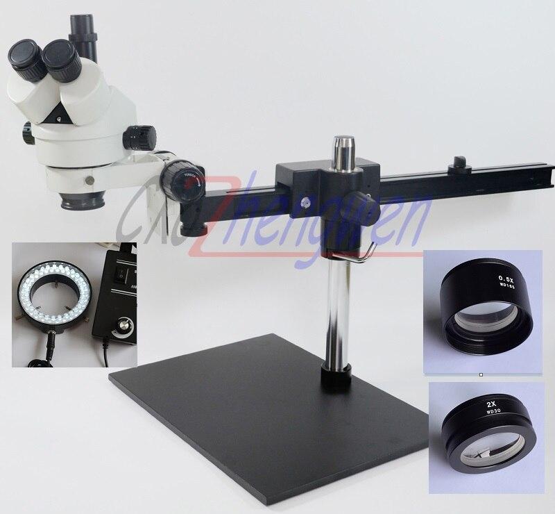 FYSCOPE 3.5X ~ 90X Trinoculaire Guide Microscope Stéréo de Bourdonnement de PCB D'inspection Microscope + 60 pièces lumière LED