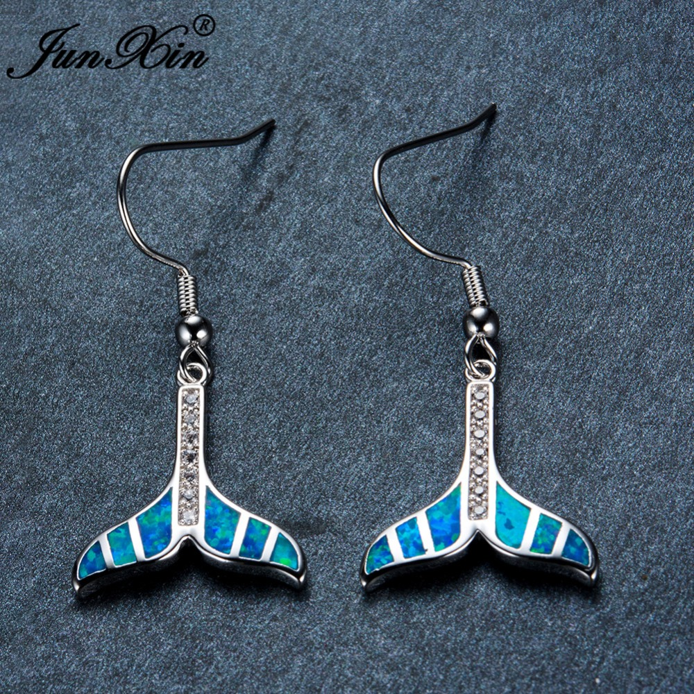 Cute Mermaid Tail Drop Earrings For Women White Gold Blue White Fire Opal Earring Stone Wedding Dangle Earrings Party Jewelry