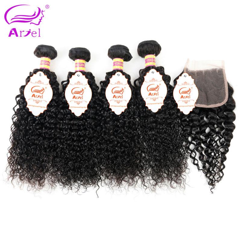 ARIEL Hair 3 4 Bundles With Closure Brazilian Kinky Curly Human Hair Weave Bundles Non Remy