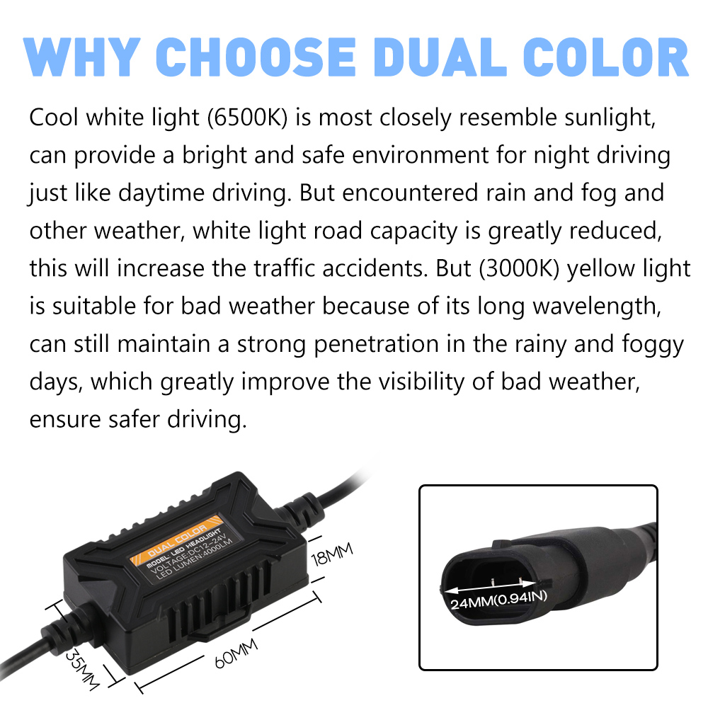 Color car with most accidents - Novsight H11 Auto Car Led Light Headlamps 40w 8000lm Set Driving Fog Light Bulbs Dual Color Headlight 3000k Yellow 6500k White In Headlight Bulbs From