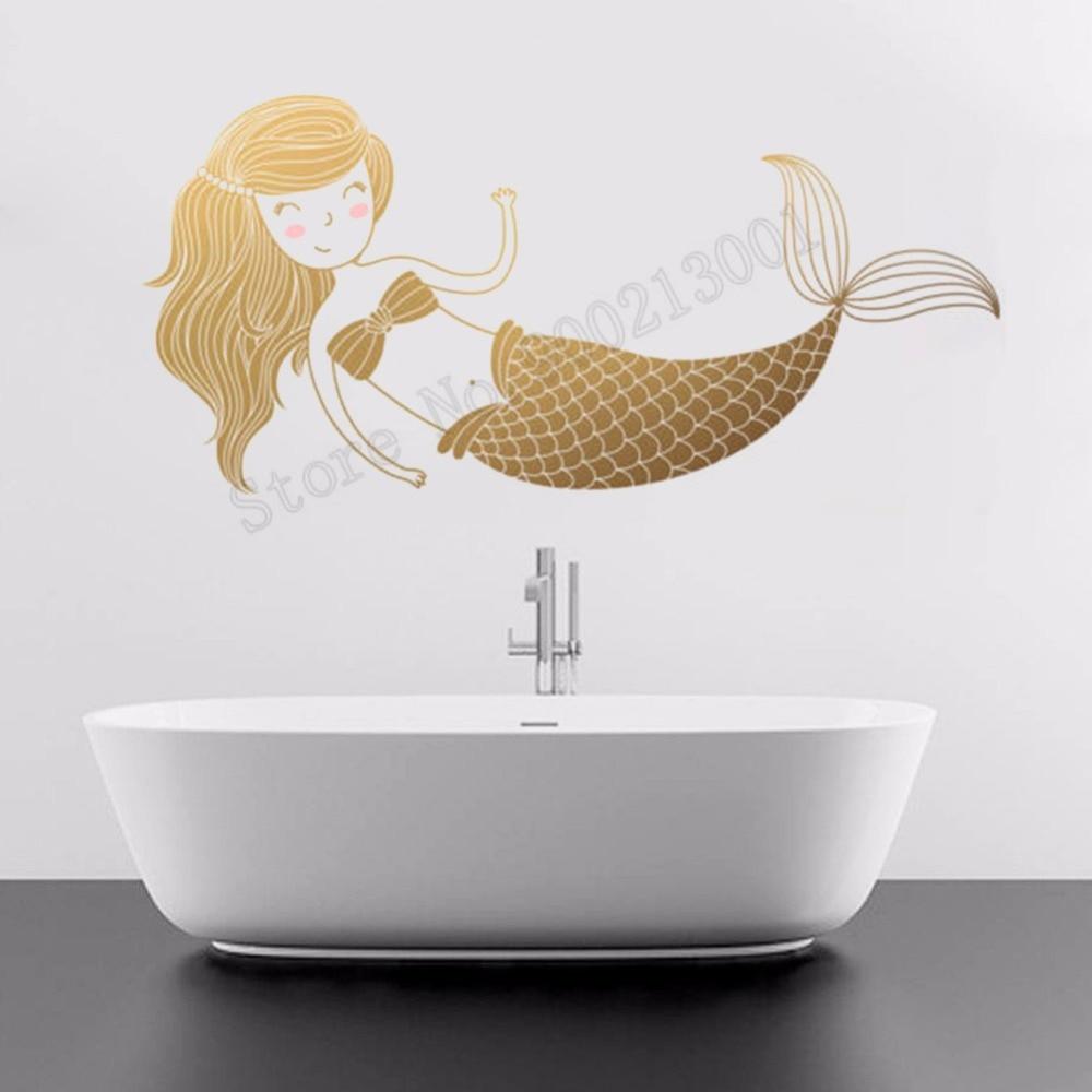 Mermaid Kidsroom Bathroom Wall Sticker Vinyl Beauty Fashion Decoration Nursery Girls Room Decals Decor Ornament LY1150
