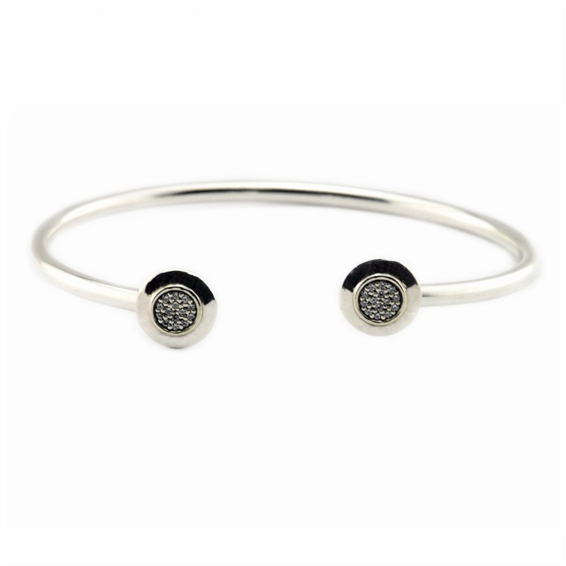 Compatible With European Jewelry Signature Silver Open Bangle With Clear CZ 925 Sterling Silver Bracelets for Women DIY Jewelry 925 sterling silver jewelry signature bangle bracelet with clear cz and real 14k gold fine jewelry trendy bangles for women 049k