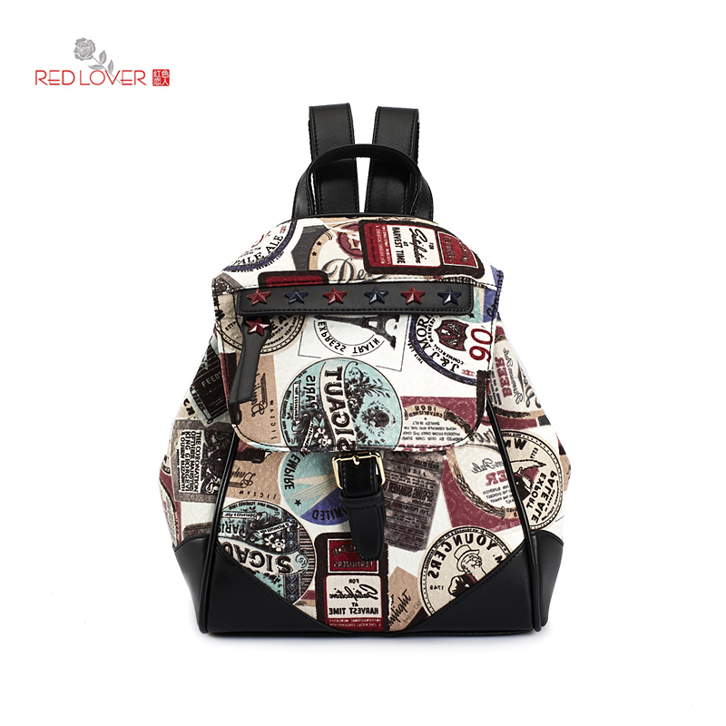 ФОТО Korean style Women's backpack Cloth Flap bag Lady PU knapsack female school bag Brand casual cover bags Red Lover