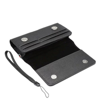 Horizontal Man Strap Belt Clip Dual Mobile Phone Leather Case Card Pouch For LG U X