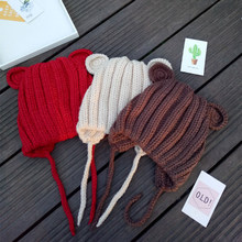 Children Cotton Knitted Hat Girl Boy Cute Winter Hats For Girls Ear Warm Thick Caps Child Beanies Kids Hat For 1-5 Years GH653(China)