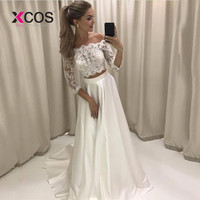 XCOS Boho White Bridal Dress Vestido De Noiva Two Pieces Lace Wedding Gowns Beach Wedding Dress with Sleeves Satin Fabric