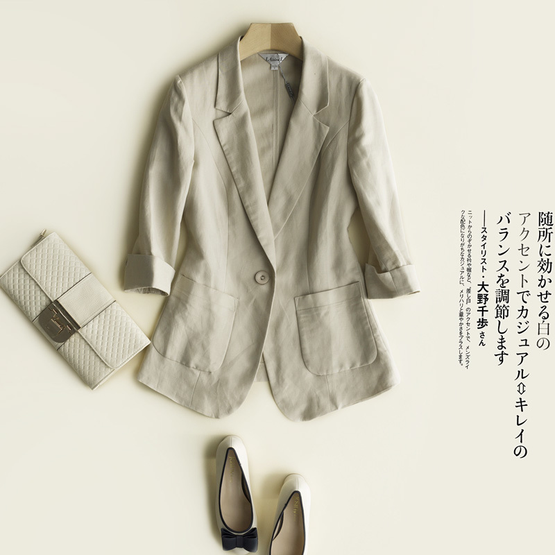 Female Spring Large Size Blazer Women Spring Casual Three Quarters Sleeve Linen Suit Jacket Candy-Color Ladies Blazers Jackets