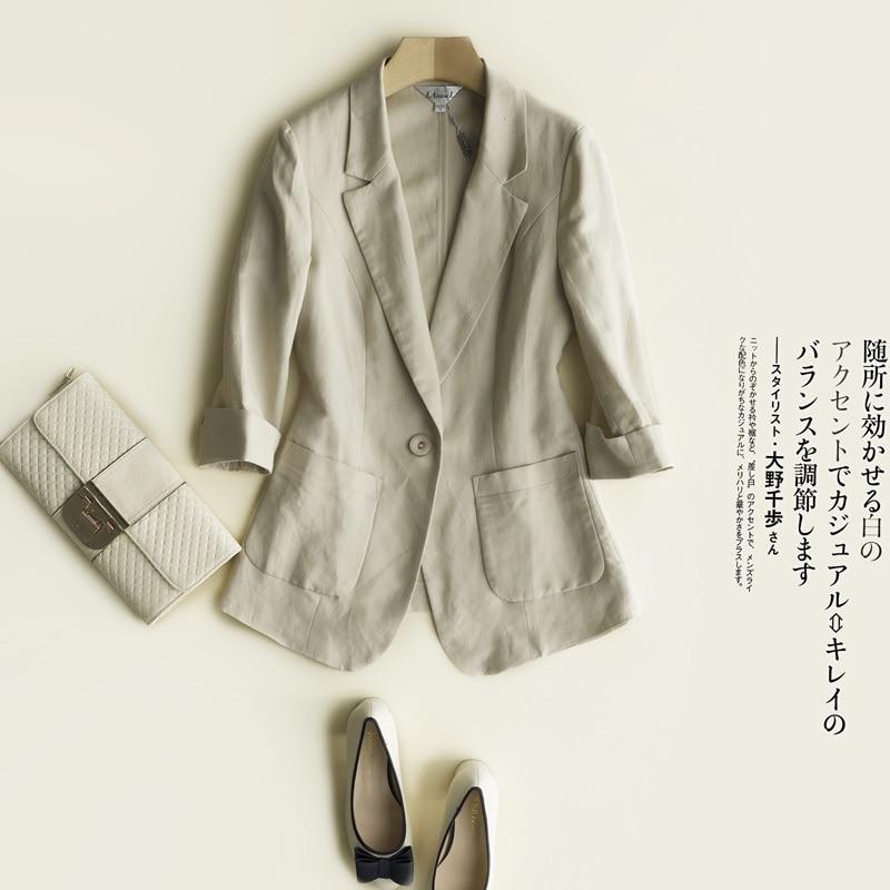 Femelle printemps Grande Taille Blazer Femmes Printemps Casual Trois Quarts Manches Veste De Costume En Lin De Sucrerie-Couleur Dames Blazers Vestes
