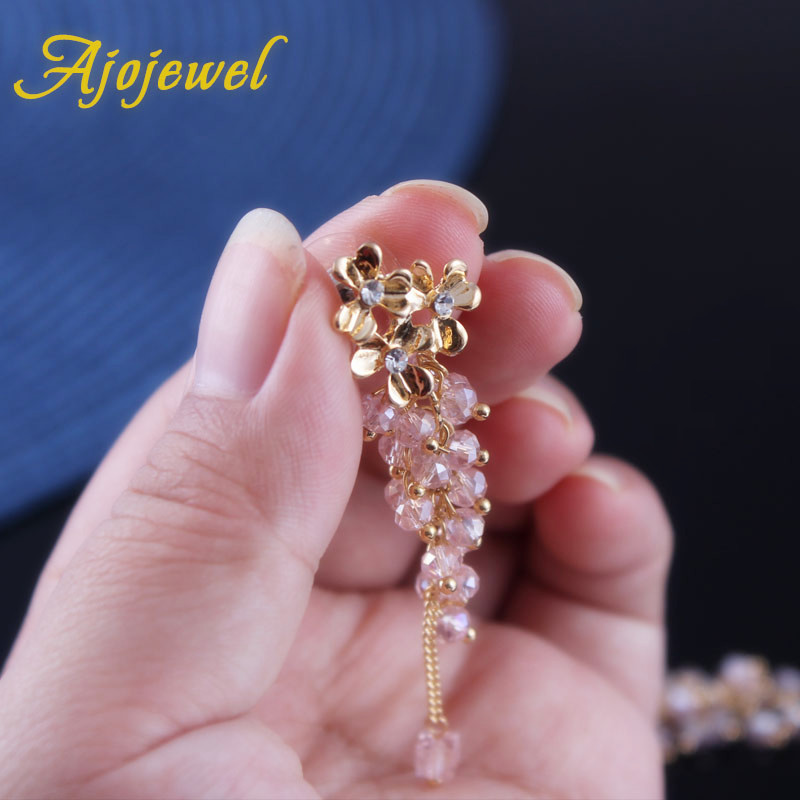 Ajojewel Trendy Smuk Crystal Beaded Tassel Drop Øreringe Flower Long - Mode smykker - Foto 4