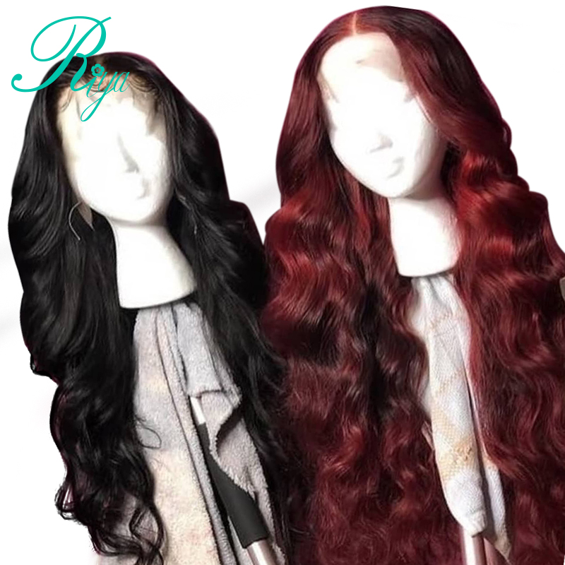 Red Body Wave Lace Front Human Hair Wig Preplucked Brazilian Ombre Remy Burgundy Wigs 150% High Density For Black Women
