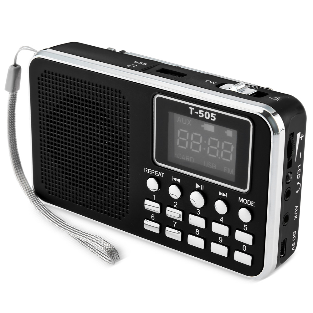 T - 505 Mini Digital LED Display Screen Speaker FM Radio Music Player Supports TF Card Smartphone MP3 PC PSP With 600mAh Battery image