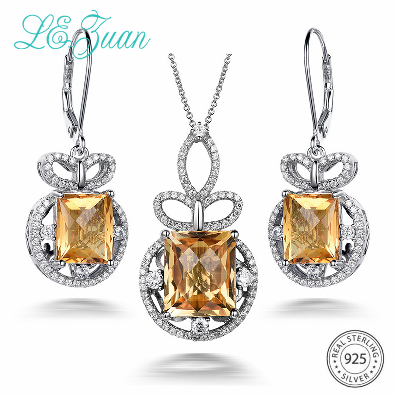 L&zuan 13.1CT Natural Citrine Jewelry Set in Genuine 925 Sterling Silver Clasp Earrings/Pendant Checkerboard Cut Yellow Stones