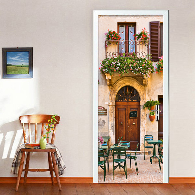 European Style Dining Room Cafe 3D Mural Wallpaper PVC Self-Adhesive Waterproof Home Decor DIY Door Mural 3D Wall Paper Stickers 3d european style home decor wall sticker