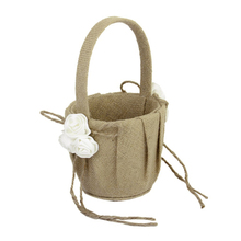 Lovely Rose Decorated Burlap Flower Basket for your Wedding Ceremony