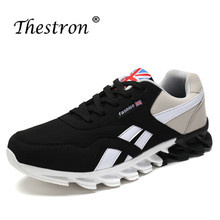 2019 Men Sport Shoes Plus Size 39-46 Running Anti-Slip Male Walking Sneakers Black Blue