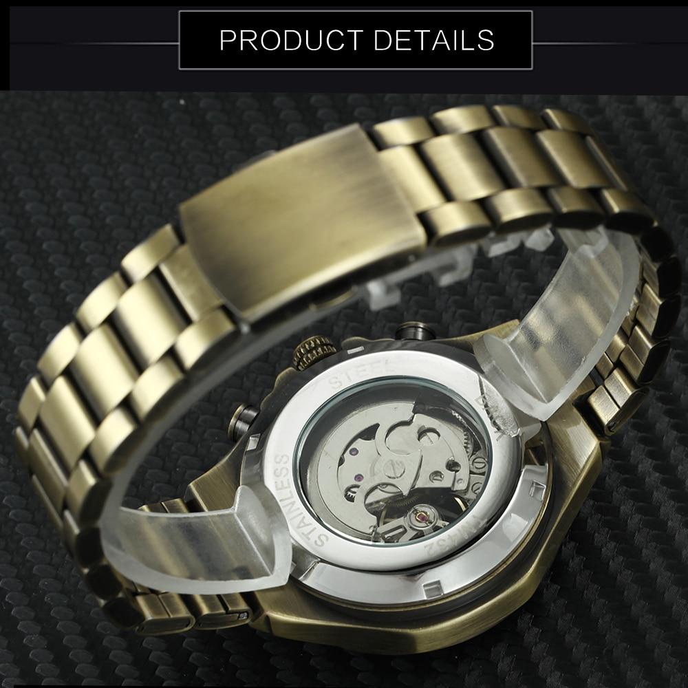 WINNER Vintage Fashion Men Mechanical Watches Metal Strap Top Brand Luxury Best Selling Vintage Retro Design Wristwatches +BOX 13
