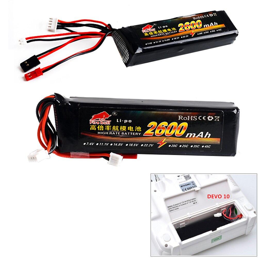1 stücke 11,1 V 2600 mAh 8C 3 S Li-Poly RC Batterie für Walkera DEVO 7 DEVO 10 DEVO12E F12E WFLY9 RadioLink AT9 AT10 sender