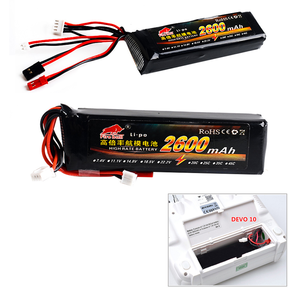 1pcs 11.1V 2600mAh 8C 3S Li-Poly RC Battery for Walkera DEVO 7 DEVO 10 DEVO12E F12E WFLY9 RadioLink AT9 AT10 Transmitter