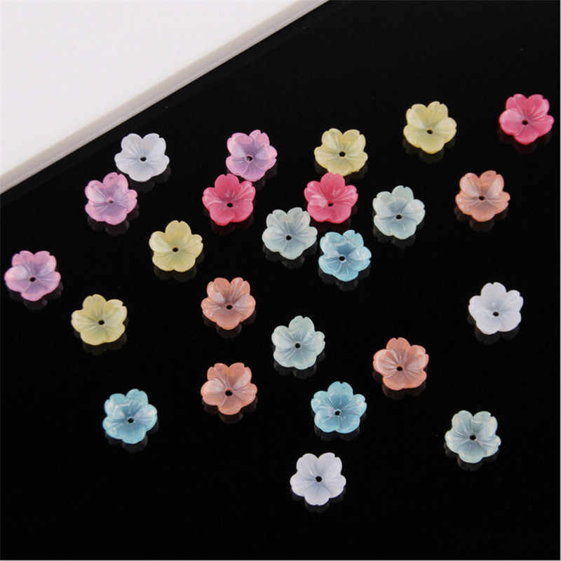 50pcs/lot new 9mm resin flower beads for diy hair clip jewelry making accessories material imitation shell loose beads with hole
