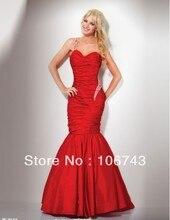 free shipping 2014 new design vestido Formal robe de soiree taffeta Elegant red long beaded Mermaid evening party prom Dress