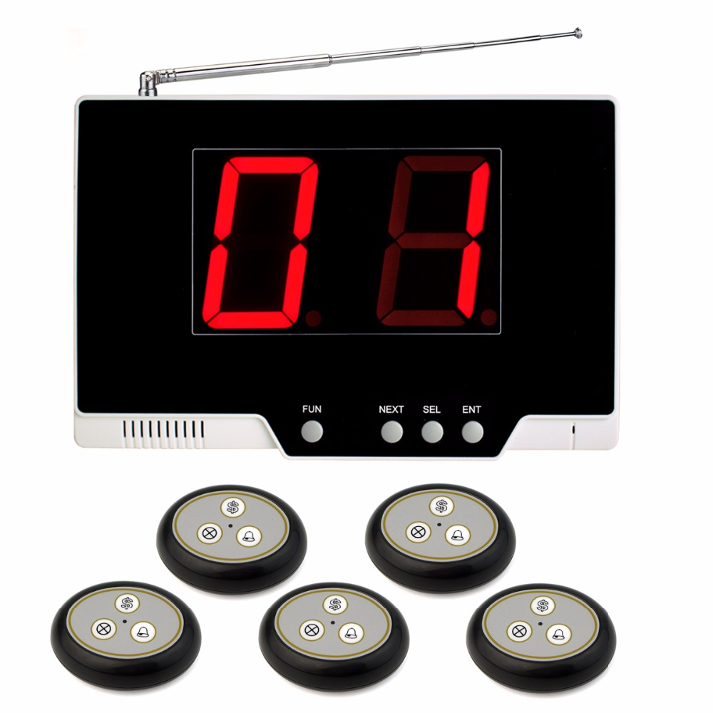 Wireless Calling System Restaurant Paging System with 1 Host Receiver + 5 Call Button Restaurant Pager F4487H restaurant pager wireless calling system 1pcs receiver host 4pcs watch receiver 1pcs signal repeater 42pcs call button f3285c