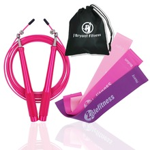 30cm Pink Resistance Bands Exercise Loops Set with Adjustable Speed Jump Rope for Crossfit Home Gym Workout Fitness Training