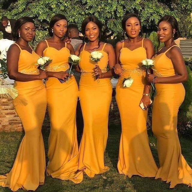 Cinderella African Yellow Sweetheart Spaghetti Sweep Train Satin Mermaid Bridesmaid Dresses Wedding Party Bridesmaid Dresses