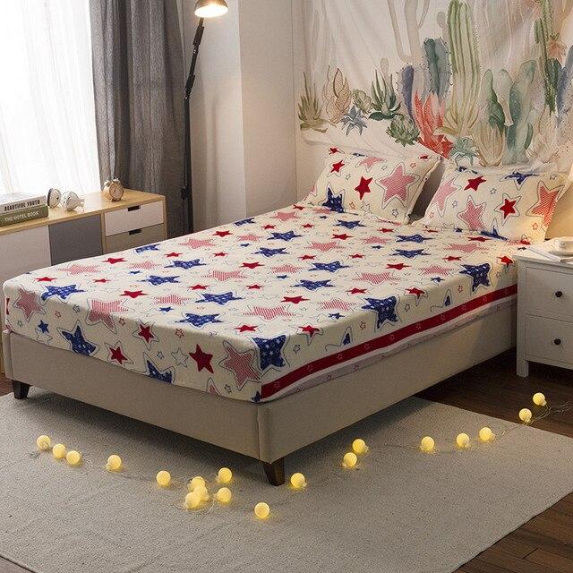 d28754b7cf Fleece bed sheet set 3pcs flannel bed set star fitted sheet+2pillowcase bed  cover set