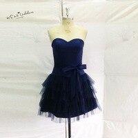 Simple barato azul marino vestido de cóctel 2017 importado Vestidos de fiesta arco China corto vestido de fiesta vestido de festa Curto