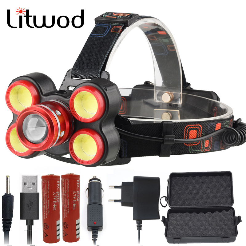 Litwod Z20 XM-L T6 LED Headlamp Headlight Rechargeable 18650 10000LM Zoom Lens Head Lamp Flashlight Head Torch For Camping
