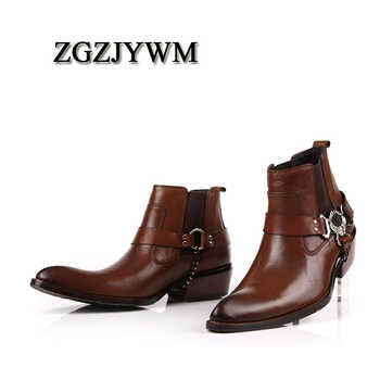 ZGZJYWM Spring/Summer Black/Red Boots Elastic Band Pointed Toe Bullock Patterns Oxford Dress Shoes For Men Ankle Boots
