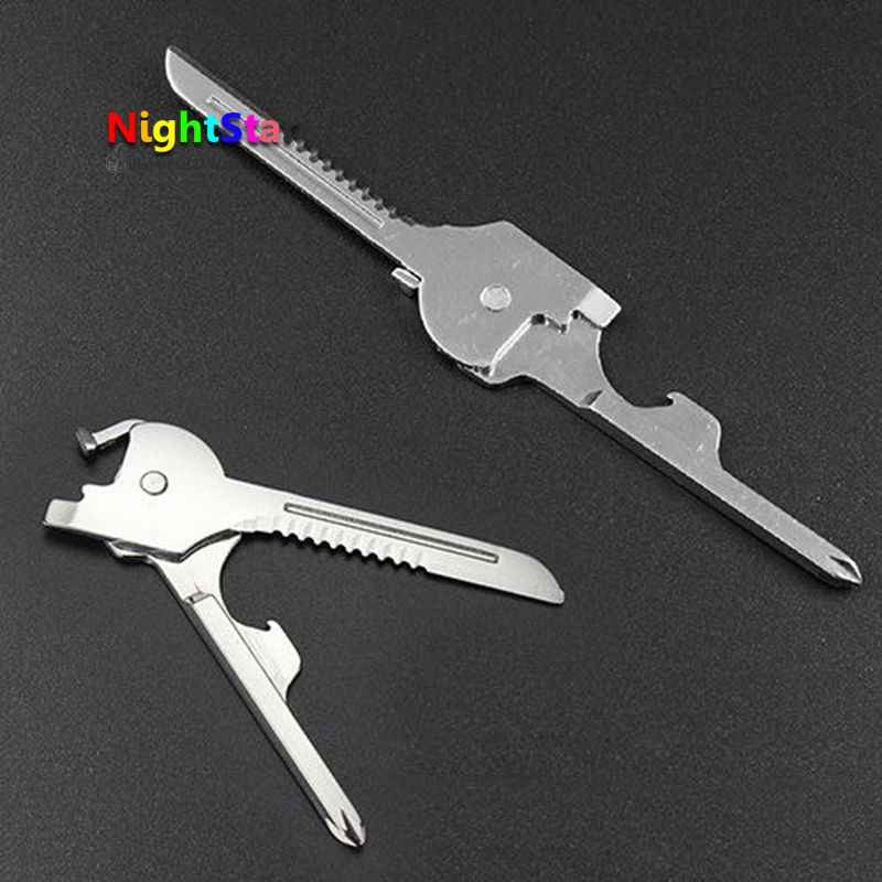 6 in 1 Utili-Key Keychain Keyring Multi Tools Stainless EDC Screwdriver Opener