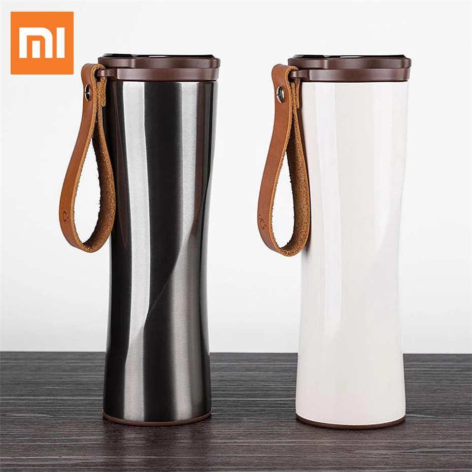 Original Xiaomi Smart Insulation Cup Kiss Kiss Fish Smart Tumbler Portable Stainless Steel Thermal Vacuum Bottle OLED Display xiaomi kiss kiss fish slim smart cup 430ml oled temperature screen protable stainless steel cup with leather rope mug option