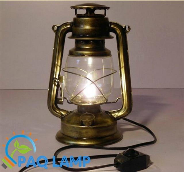 Vintage Lamp Retro Kerosene Table Light Modeling Iron Lamp Body Bronze  Color Table Lights