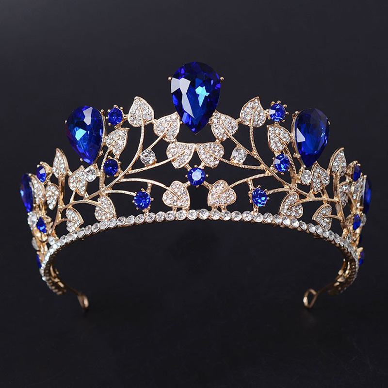 New Arrival Magnificent Blue Rhinestone Bridal Crown Tiaras Fashion Golden Diadem for Women Wedding Hair jewelry accessories