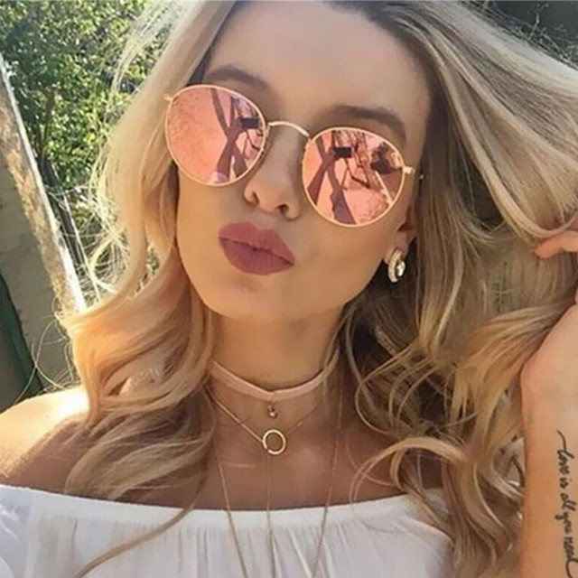 1ef21518bbac Rose Gold Round Sunglasses Women Fashion Brand Designer Metal Frame Vintage  Mirror Sun Retro Glasses Female UV400