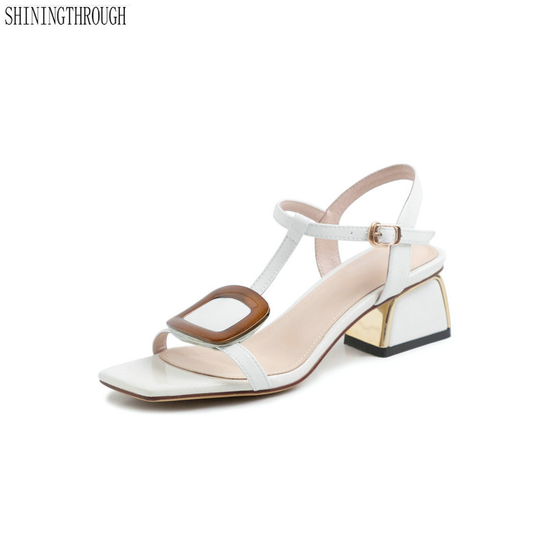 Genuine leather med heels women sandals woman shoes T strap ladies party dress shoes woman large