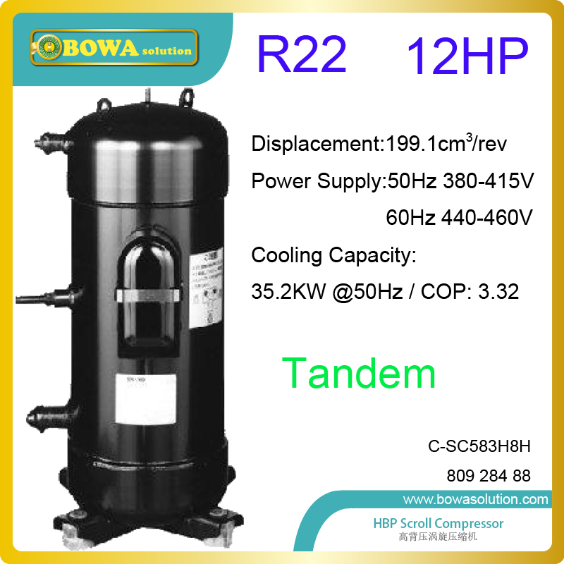 12HP R22 scroll refrigeration compressors are used in high temperature heat pump dryer chambers or constant temperature machines general and independent eev controller for twin compressor unit or 3 in 1 heat pump or dual temperature refrigeration equipments