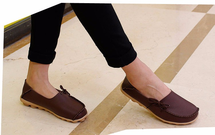 2016 New Real Leather Woman Flats Moccasins Mother Loafers Lacing Female Driving Casual Shoes In 16 Colors Size 34-44 ST179 (23)