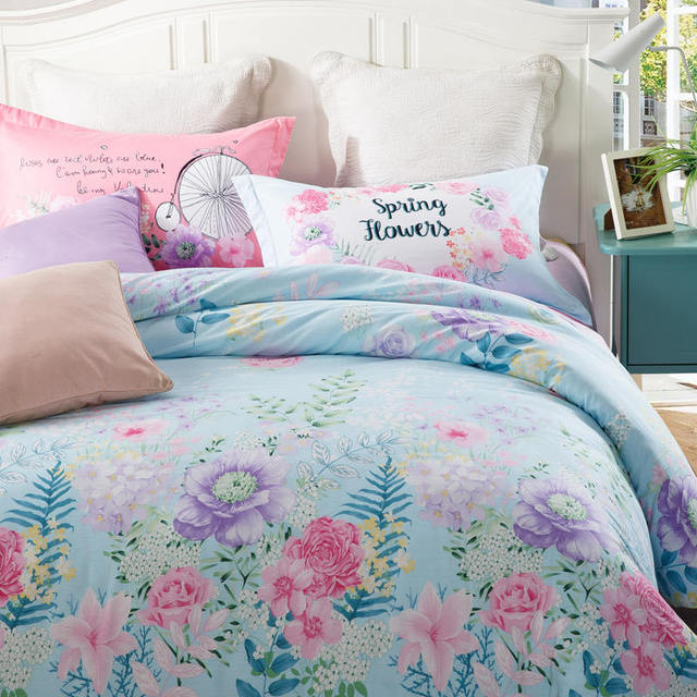 Spring Florals Light Blue Bedding Sets 100 Cotton Girls Adults