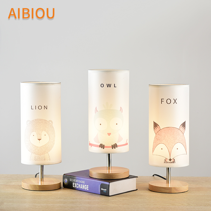 AIBIOU Cartoon LED Table Lamps With Fabric Lampshade For Bedroom Kid Table Lights Bedside Lighting Wood Boys Room Desk Light