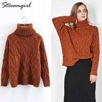 Blue Twist Sweater Women Turtleneck Sweaters Warm Thick Autumn 2018 Women Pullover Sweater Oversized Sweaters Woman Winter New